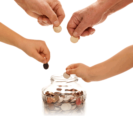hands putting coins in jar